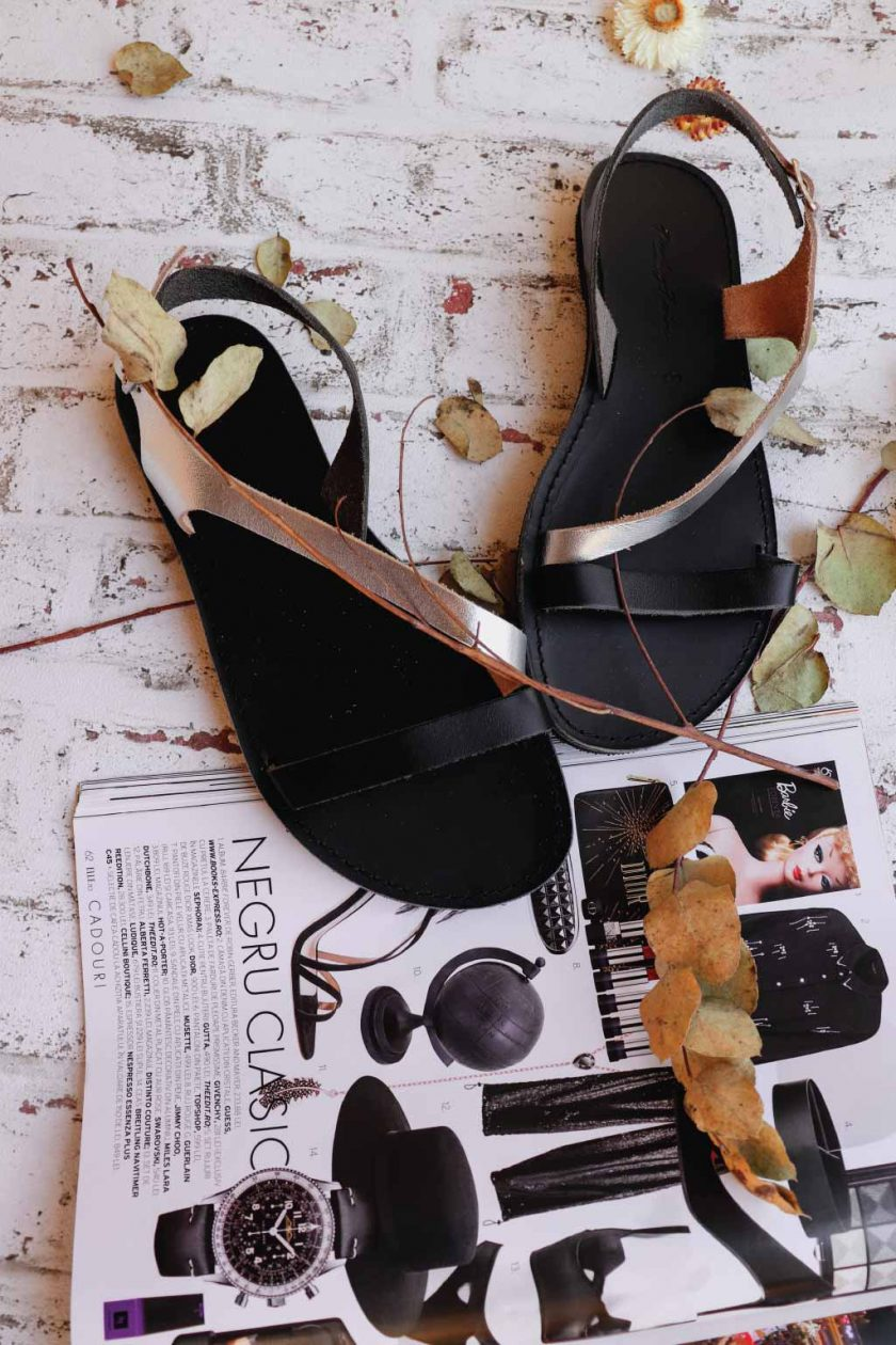 Echtleder Damen-Sandalen FUNKY STRIPES, silber