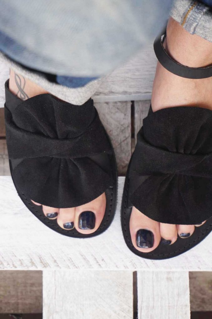 Echtleder flache Damen Sandalen FUNKY B, schwarz