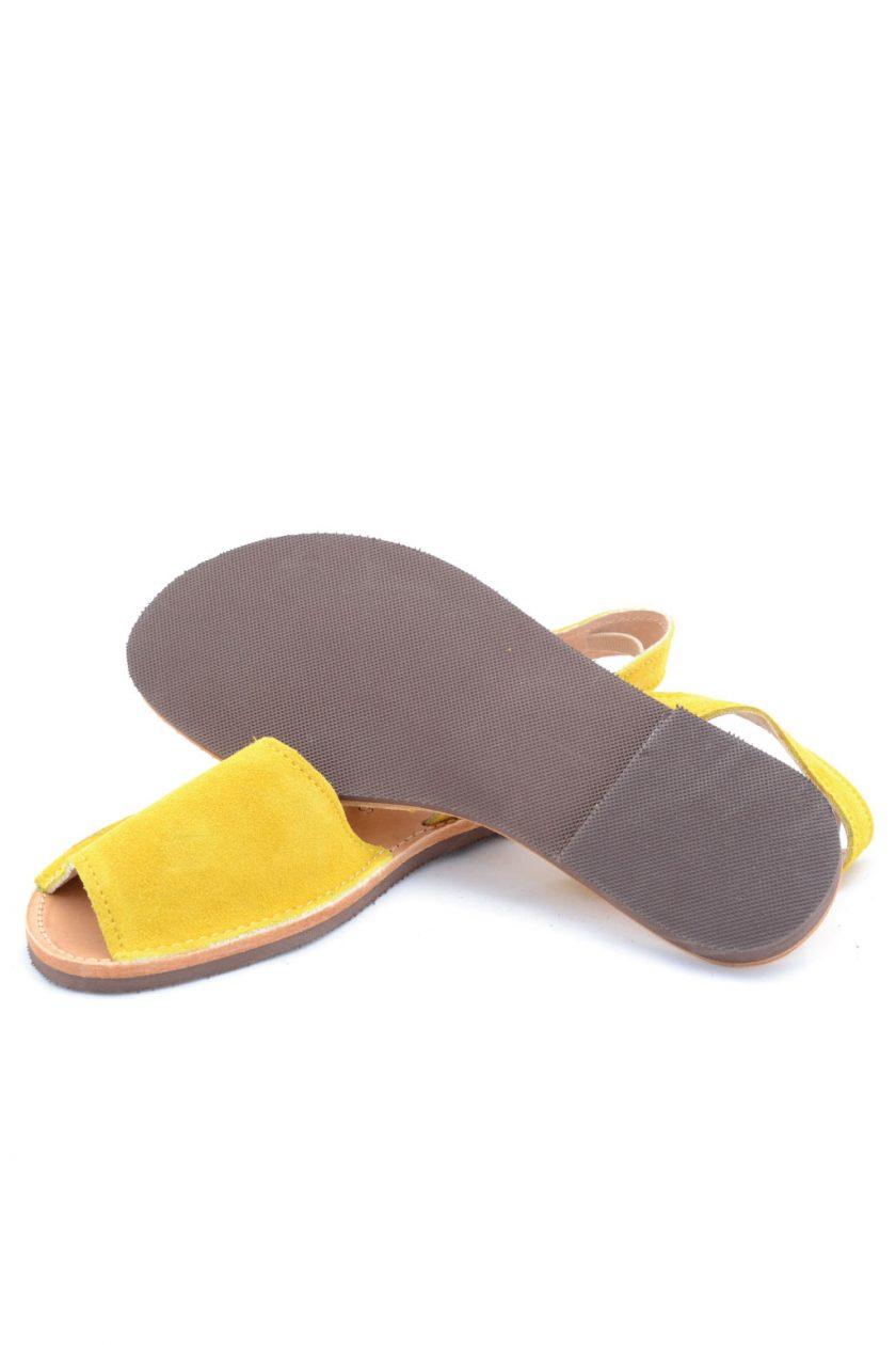 Flache Sandalen aus Echtleder FUNKY Q, gelb