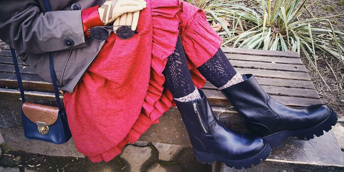 Hohe Stiefel aus echtem Leder FUNKY NEW BIKER, schwarz