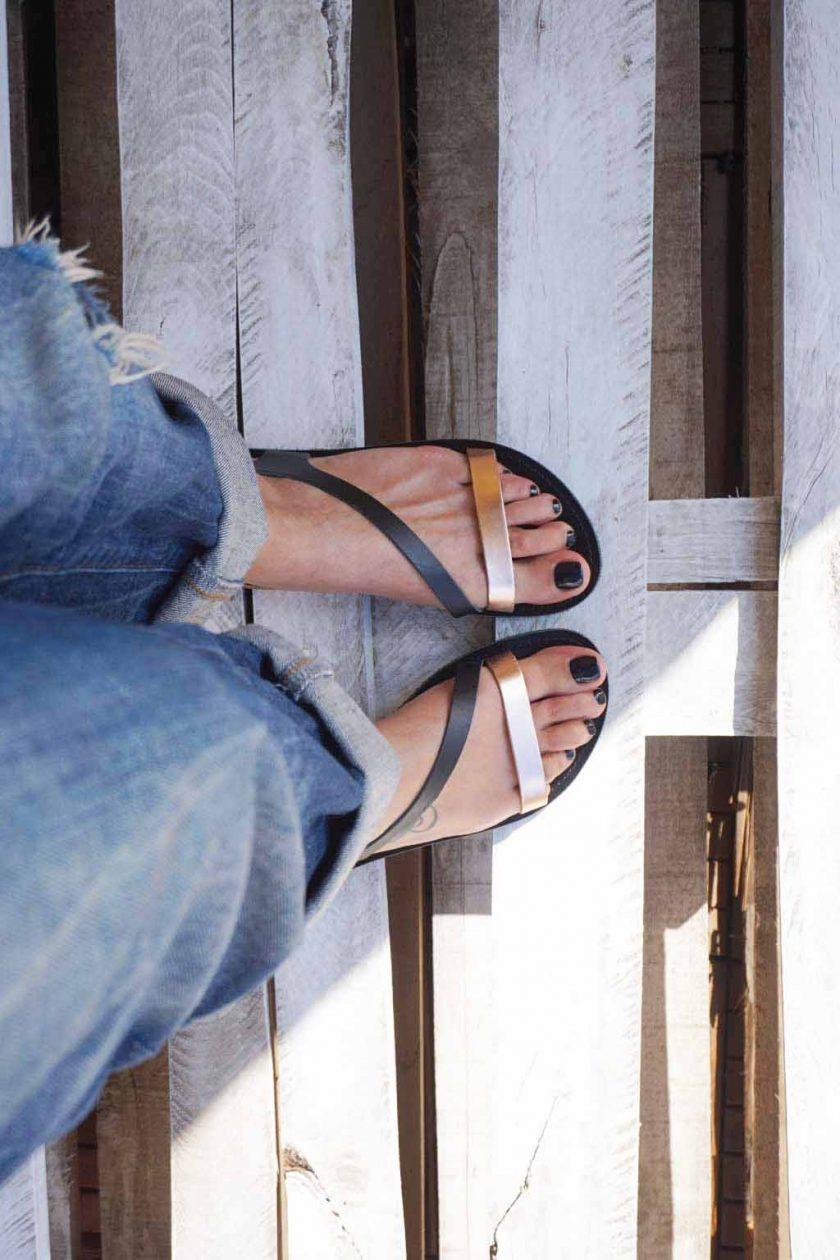 Sandale dama piele naturala FUNKY STRIPES negru | FUNKYFAIN