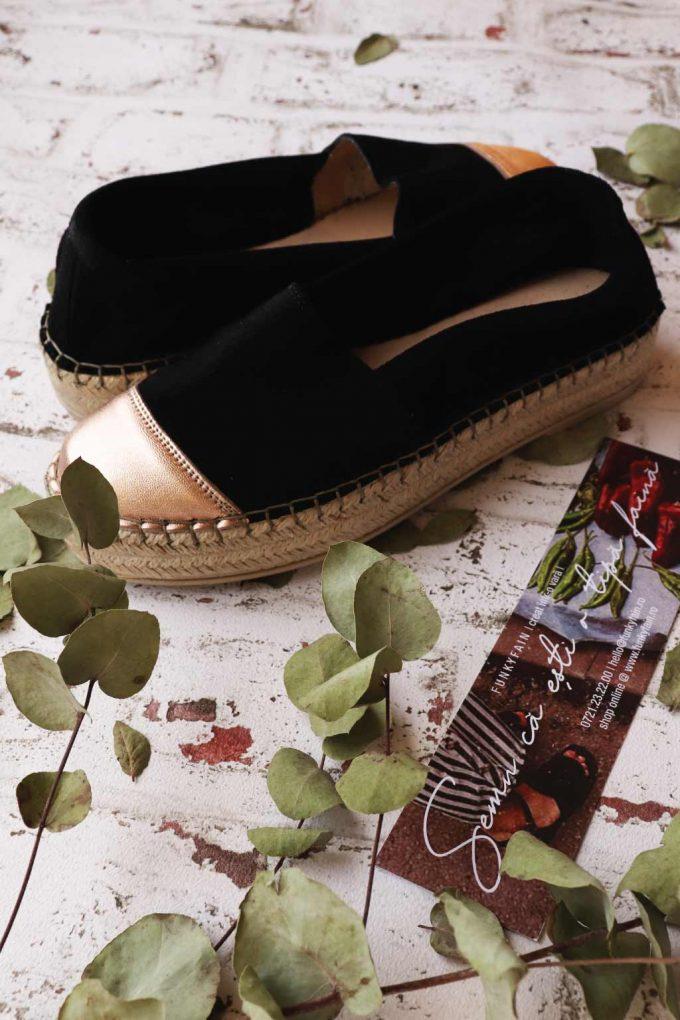 Damen-Espadrilles aus echtem Leder SO FUNKY, bronze – schwarz