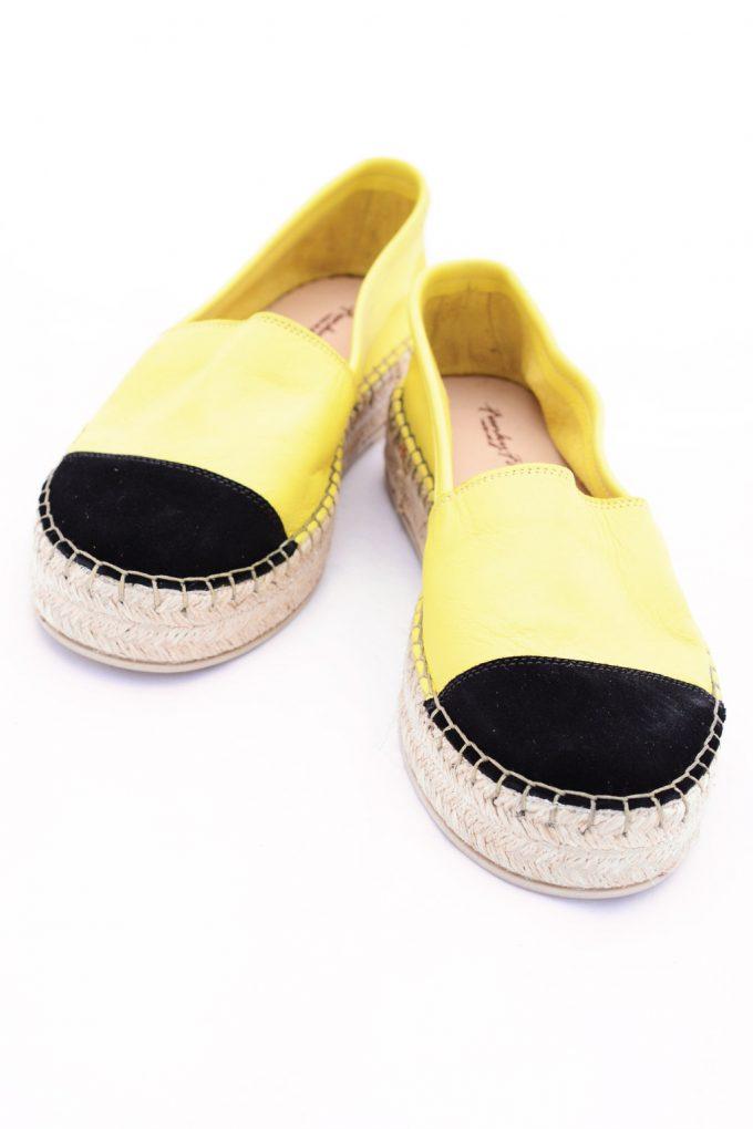 Damen-Espadrilles aus echtem Leder SO FUNKY, gelb