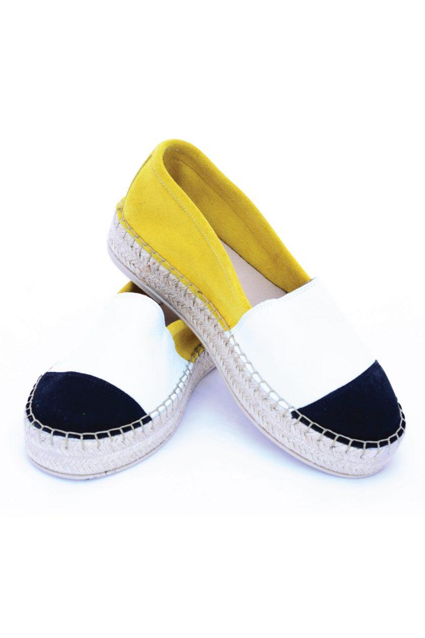 Damen-Espadrilles aus echtem Leder SO FUNKY, weiß – gelb