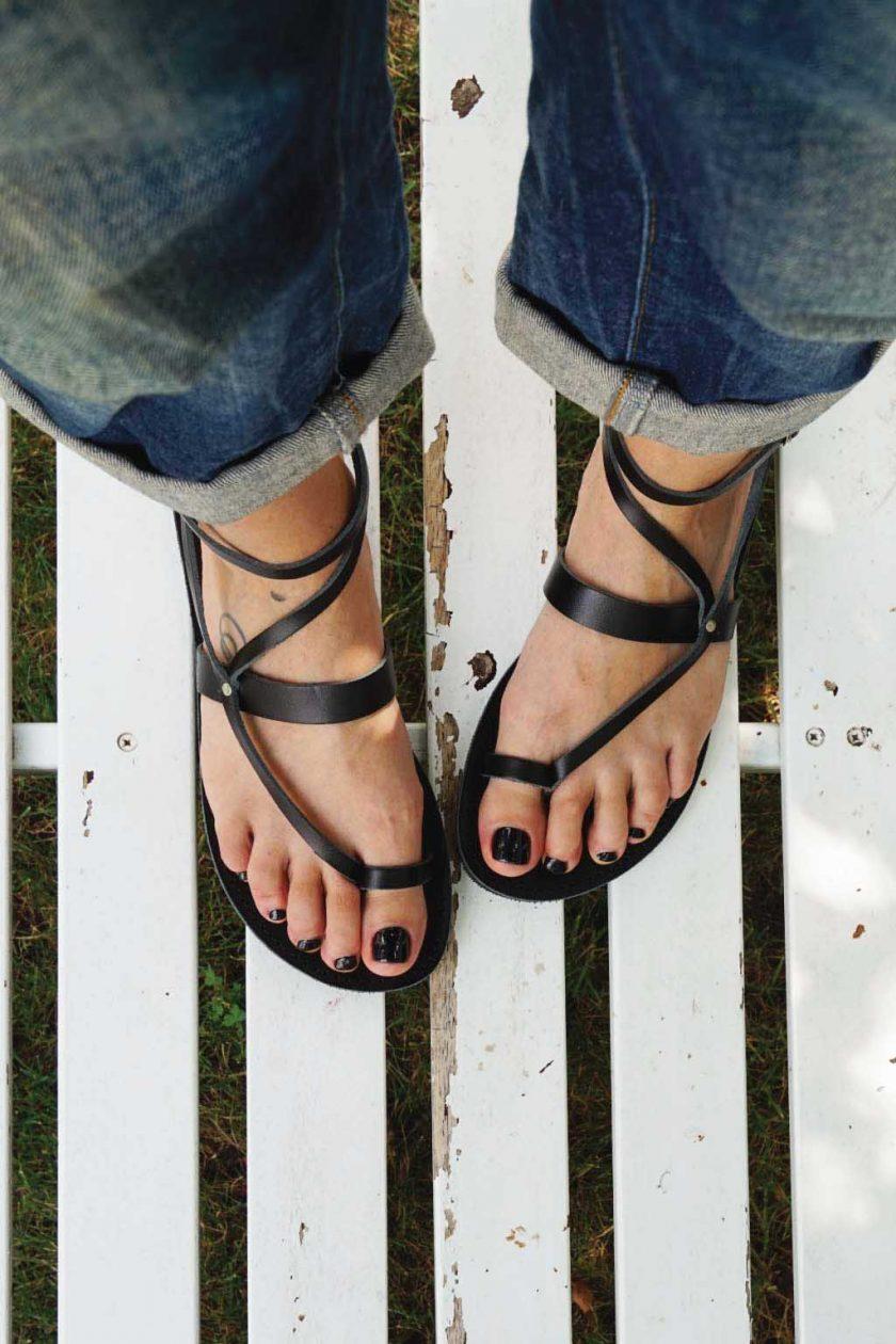 Echtleder Damen Sandalen FUNKY TOUCH, schwarz