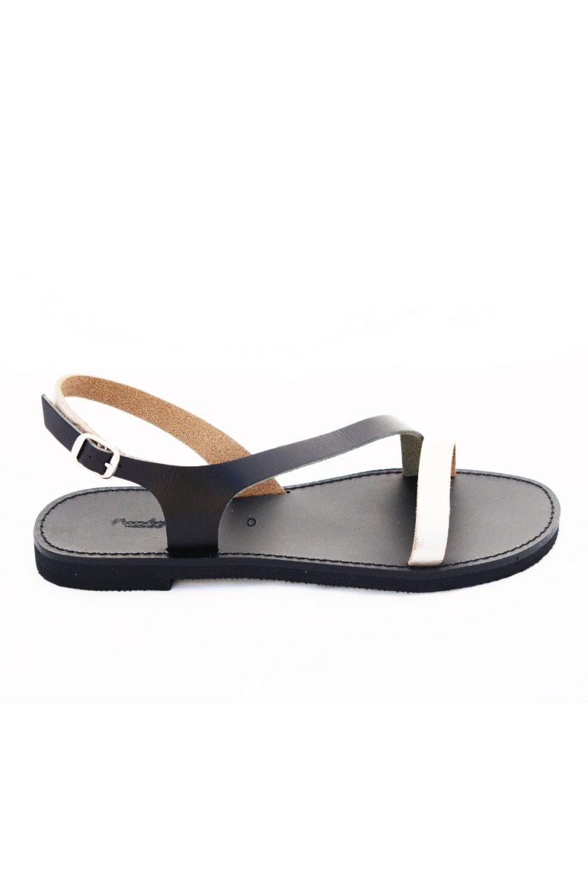 Flache Sandalen FUNKY STRIPES, metallic taupe